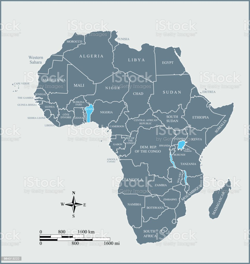 Africa Map Countries Labeled Vector Outline Blue Background With Mileage  And Kilometer Scales Royalty Free