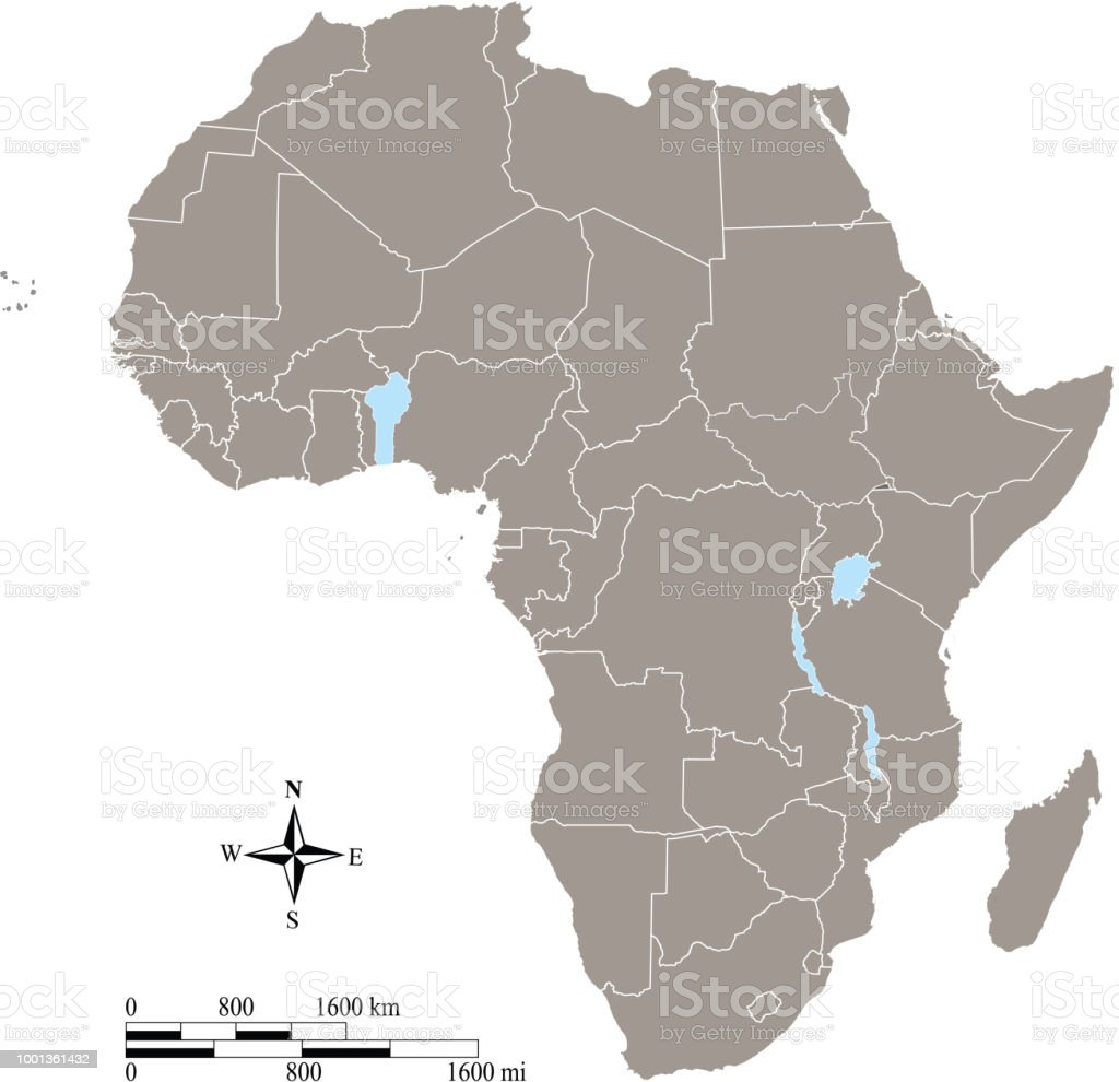 Africa Map Countries Vector Outline With Scales Of Miles And