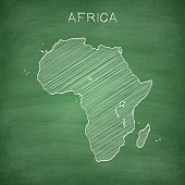 Map of Africa drawn in chalk on a green chalkboard with chalk traces. Vector Illustration (EPS10, well layered and grouped). Easy to edit, manipulate, resize or colorize. Please do not hesitate to contact me if you have any questions, or need to customise the illustration. http://www.istockphoto.com/portfolio/bgblue