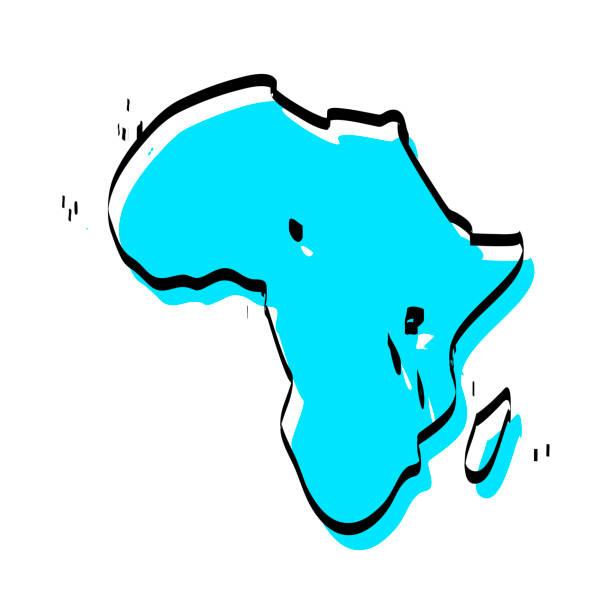 ilustrações de stock, clip art, desenhos animados e ícones de africa map hand drawn on white background, trendy design - cabo verde