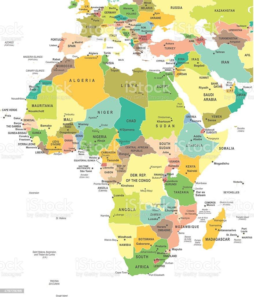 Africa - map - illustration vector art illustration