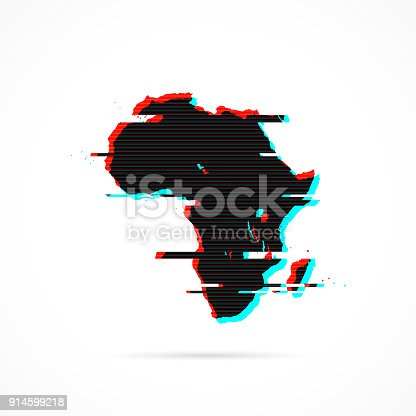 Map of Africa with a distorted glitch effect (red and blue) isolated on white background. Modern and trendy style. Vector Illustration (EPS10, well layered and grouped). Easy to edit, manipulate, resize or colorize. Please do not hesitate to contact me if you have any questions, or need to customise the illustration. http://www.istockphoto.com/portfolio/bgblue/