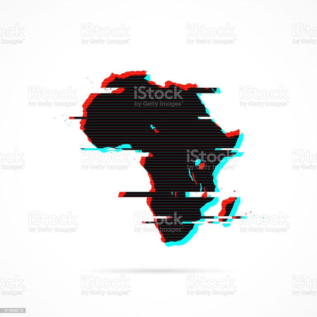 Africa map in distorted glitch style. Modern trendy effect vector art illustration