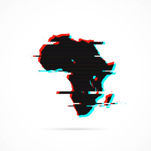 ilustrações de stock, clip art, desenhos animados e ícones de africa map in distorted glitch style. modern trendy effect - cabo verde
