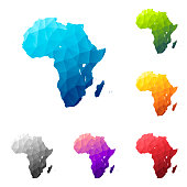 Set of 6 Africa maps created in a Low Poly style, isolated on a blank background. Modern and trendy polygonal mosaic with beautiful color gradients (colors used: Blue, Green, Orange, Yellow, Red, Pink, Purple, Black, Gray). Vector Illustration (EPS10, well layered and grouped). Easy to edit, manipulate, resize or colorize.