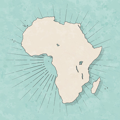 Africa map in retro vintage style - Old textured paper