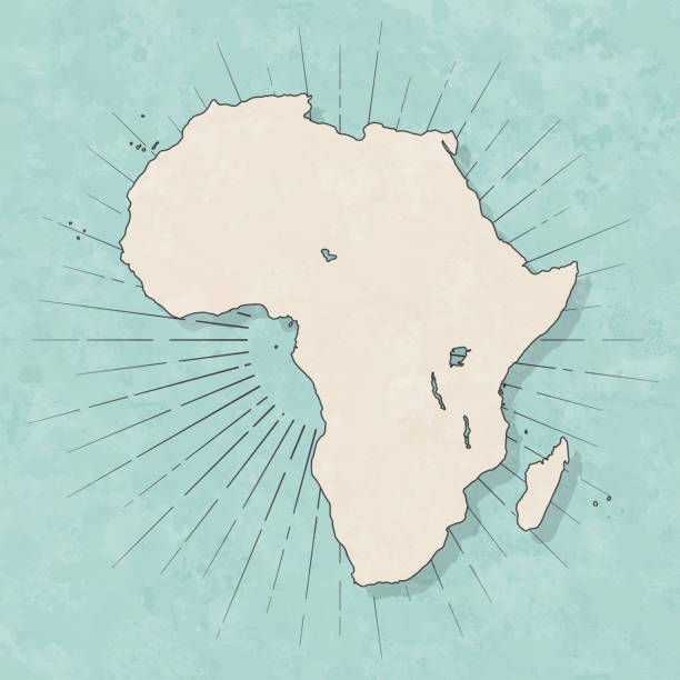 Africa map in retro vintage style - Old textured paper vector art illustration