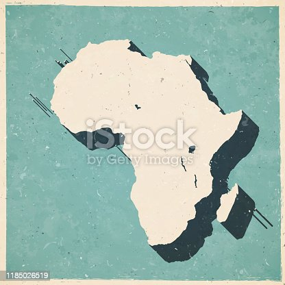 Map of Africa in a trendy vintage style. Beautiful retro illustration with old textured paper and a black long shadow (colors used: blue, green, beige and black). Vector Illustration (EPS10, well layered and grouped). Easy to edit, manipulate, resize or colorize.