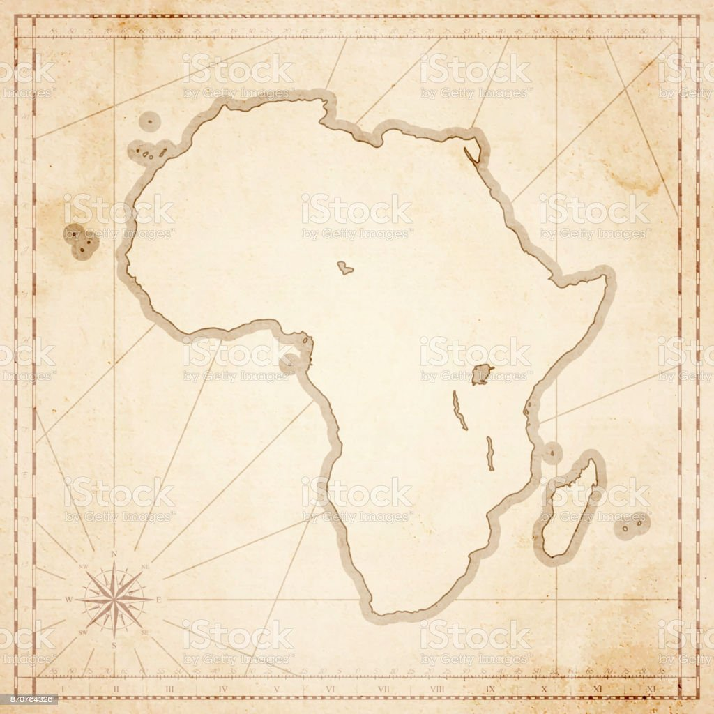 Africa Map In Retro Vintage Style Old Textured Paper Stock