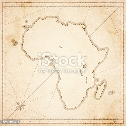 Map of Africa in vintage style. Beautiful illustration of antique map on an old textured paper of sepia color. Old realistic parchment with a compass rose, lines indicating the different directions (North, South, East, West) and a frame used as scale of measurement.Vector Illustration (EPS10, well layered and grouped). Easy to edit, manipulate, resize or colorize. Please do not hesitate to contact me if you have any questions, or need to customise the illustration. http://www.istockphoto.com/portfolio/bgblue