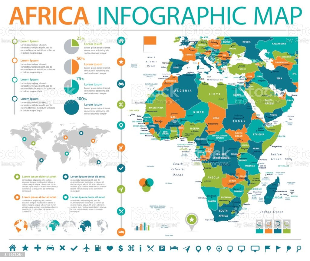 Africa Map - Info Graphic Vector Illustration vector art illustration