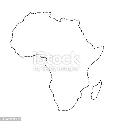 Africa map isolated on white background. World map vector illustration .