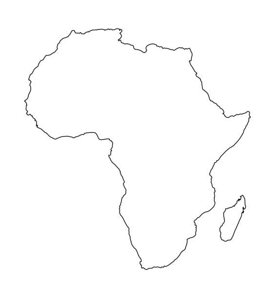 非洲地圖查出在白色背景。世界地圖向量例證 - africa 幅插畫檔、美工圖案、卡通及圖標