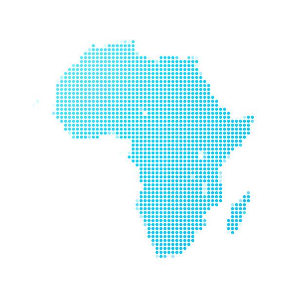 白色背景上的藍點非洲地圖 - africa 幅插畫檔、美工圖案、卡通及圖標