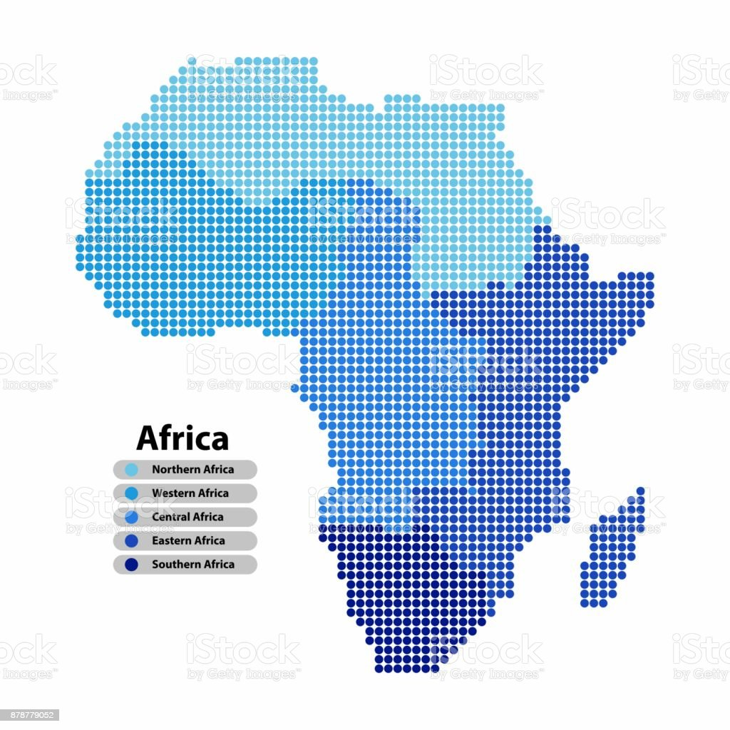 Shape Of Africa Map.Africa Map Of Circle Shape With The Provinces Colored In Blue Colors