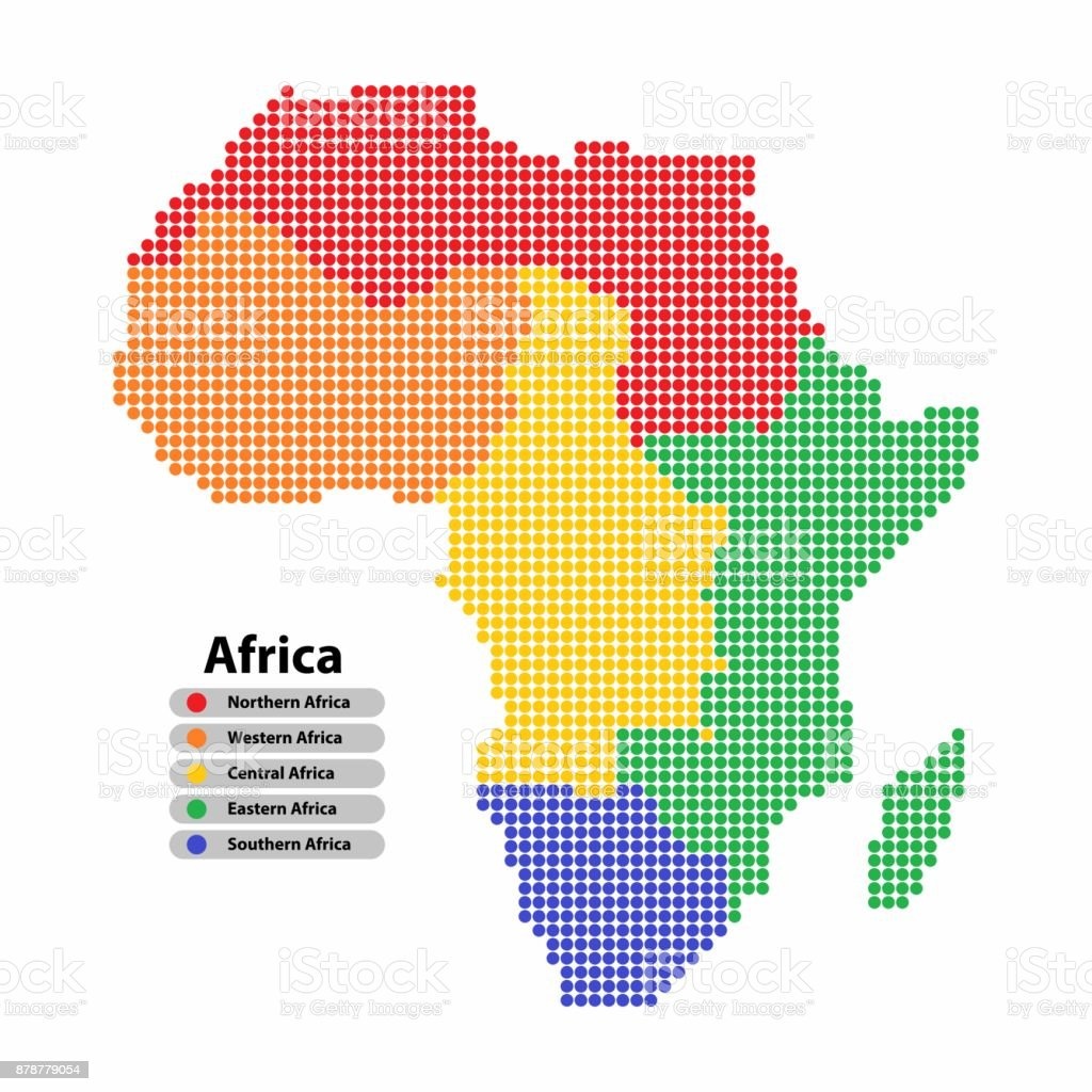 Shape Of Africa Map.Africa Map Of Circle Shape With The Provinces In Colorful Colors On