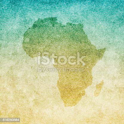 Map of Africa isolated on realistic grunge canvas texture.