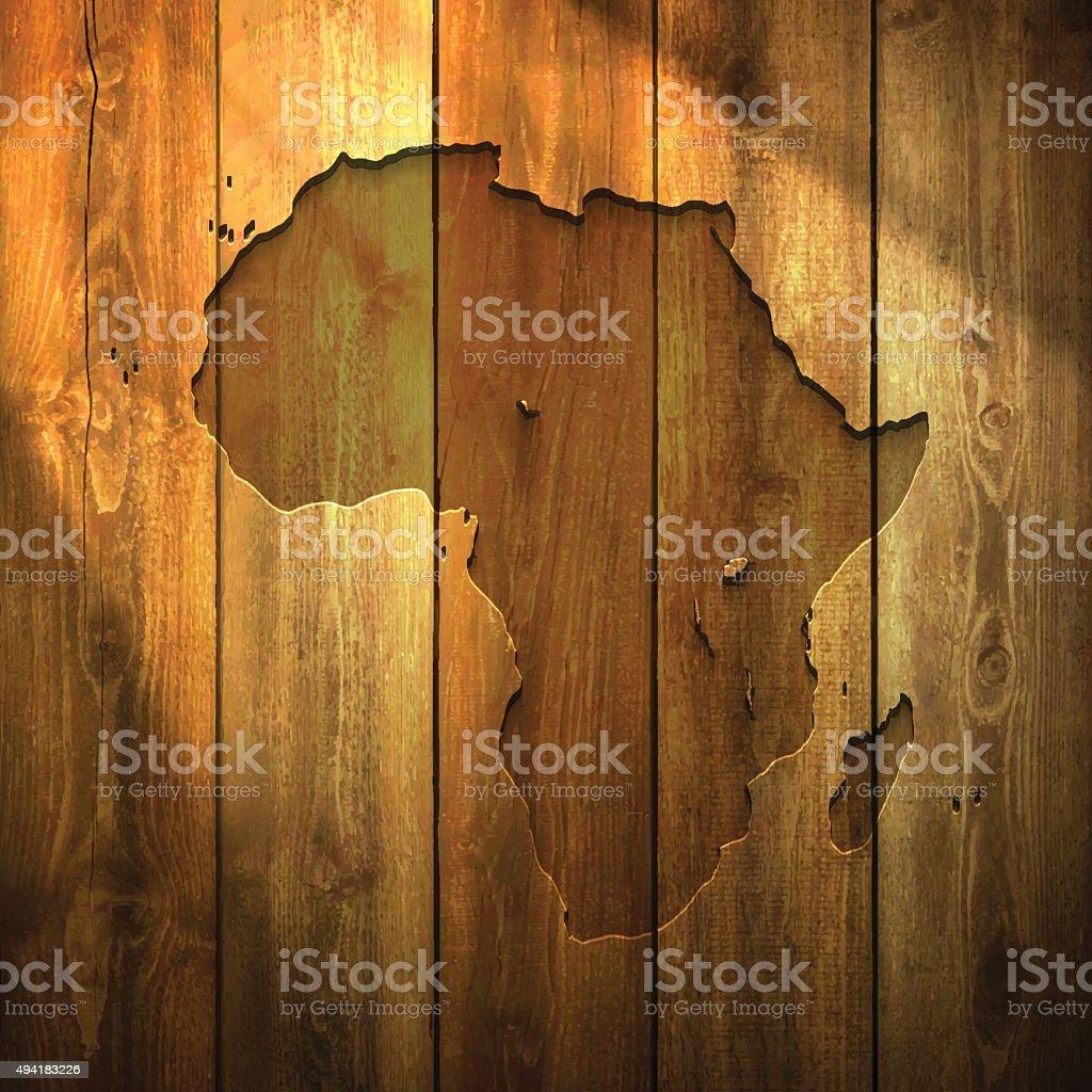 Africa Map on lit Wooden Background vector art illustration