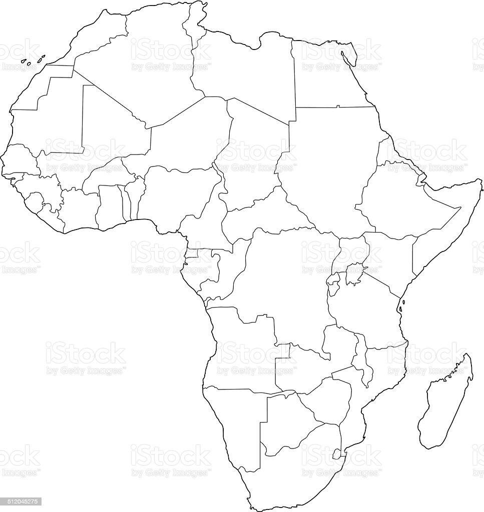 Africa Map Outline White Background Stock Vector Art ...