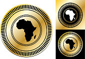 Africa map.This image features the main icon on a round sticker design. The image is a  vector illustration. The colors are black, white and golden gradient. It's placed against a white background. There are two more alternative designs of the seal on the right of the image. This royalty free vector illustration is easy to modify.