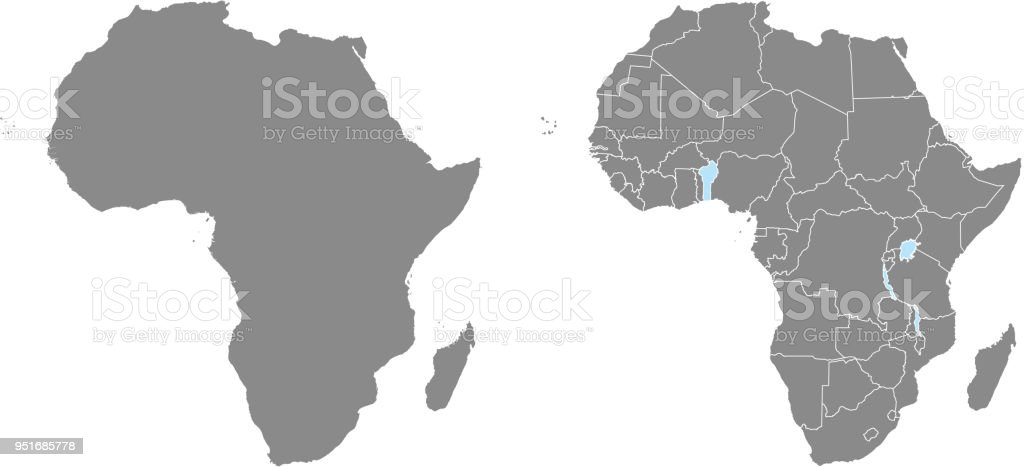 Accurate Map Of Africa.Africa Map Vector Outline Illustration With Countries Borders In