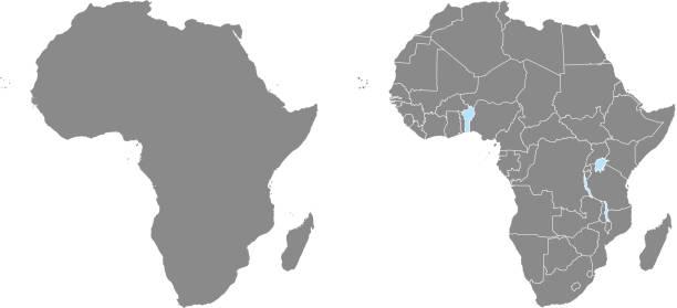 非洲地圖向量概要例證與國家邊界在灰色背景。地圖專家編寫的非洲大陸高度詳細的精確地圖。 - africa 幅插畫檔、美工圖案、卡通及圖標