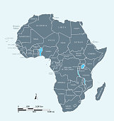 Africa map vector outline illustration with miles and kilometers scales and countries names labeled in blue background
