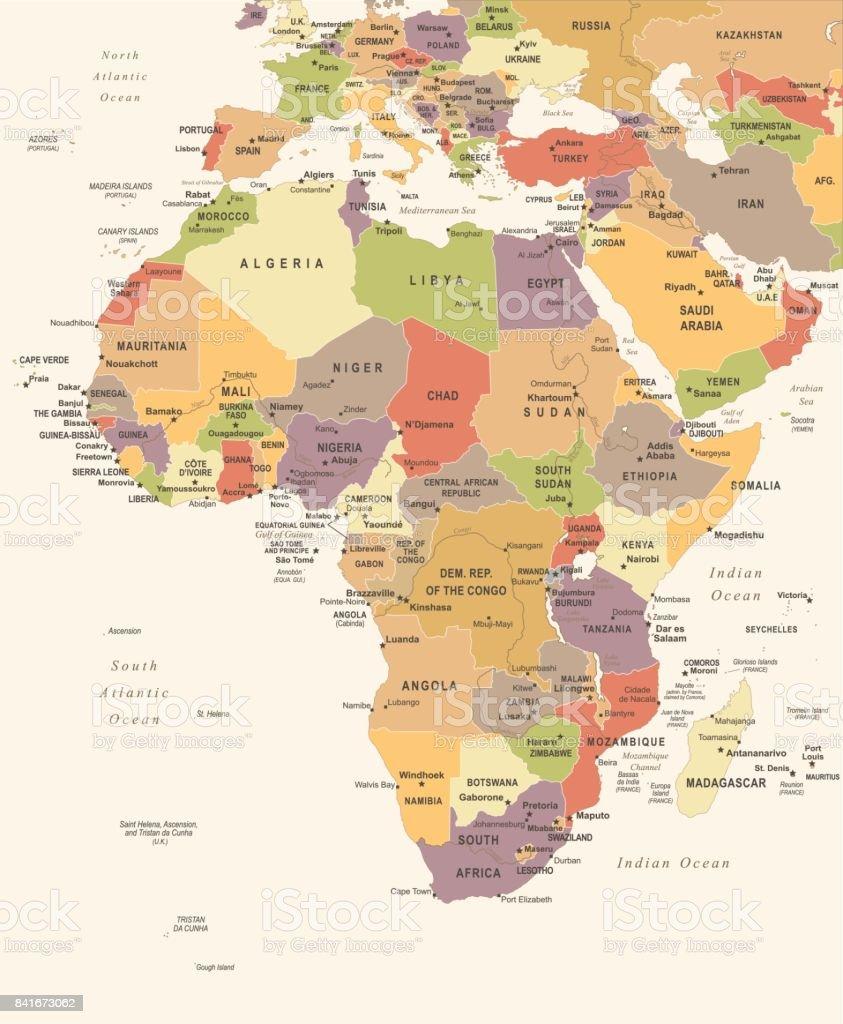 Africa Map Vintage Vector Illustration stock vector art 841673062