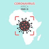 Map of Africa with a cell of the novel coronavirus (COVID-19, 2019-nCoV) in the center of a red viewfinder. White map isolated on a blue green background. (colors used: blue, green, red and black). Conceptual image: coronavirus detected, closing of borders, area under control, stop coronavirus, defeat the virus, quarantined area, spread of the disease, coronavirus outbreak on the territory, virus alert, danger zone, confined space. Vector Illustration (EPS10, well layered and grouped). Easy to edit, manipulate, resize or colorize.