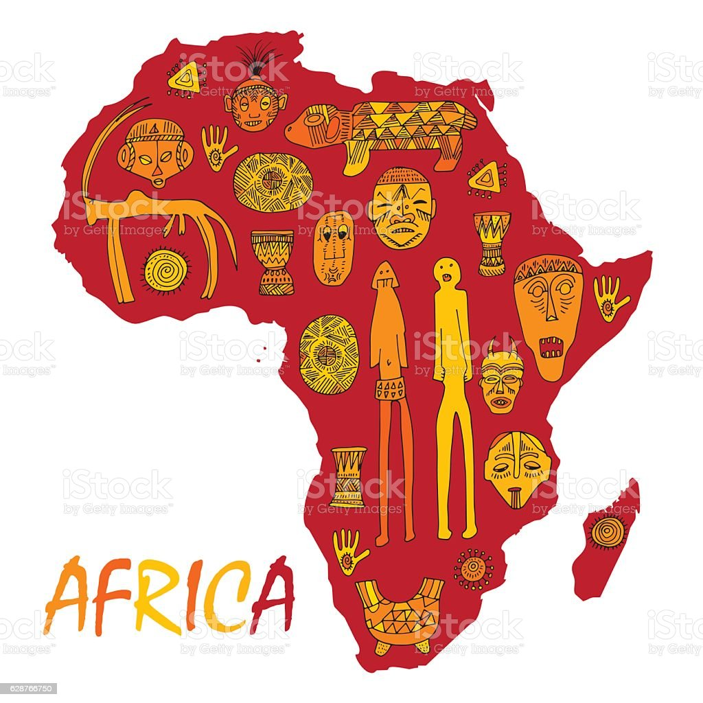 Africa Map With Different Ancient Symbols And Signs Stock Vector Art