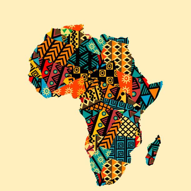 非洲地圖與民族圖案圖案 - africa 幅插畫檔、美工圖案、卡通及圖標
