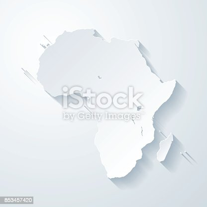 Map of Africa with a realistic paper cut effect isolated on white background. Vector Illustration (EPS10, well layered and grouped). Easy to edit, manipulate, resize or colorize. Please do not hesitate to contact me if you have any questions, or need to customise the illustration. http://www.istockphoto.com/bgblue/