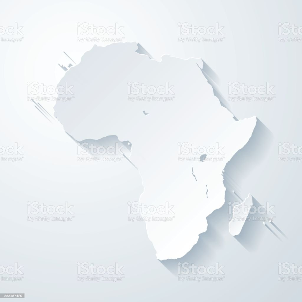 Africa map with paper cut effect on blank background vector art illustration