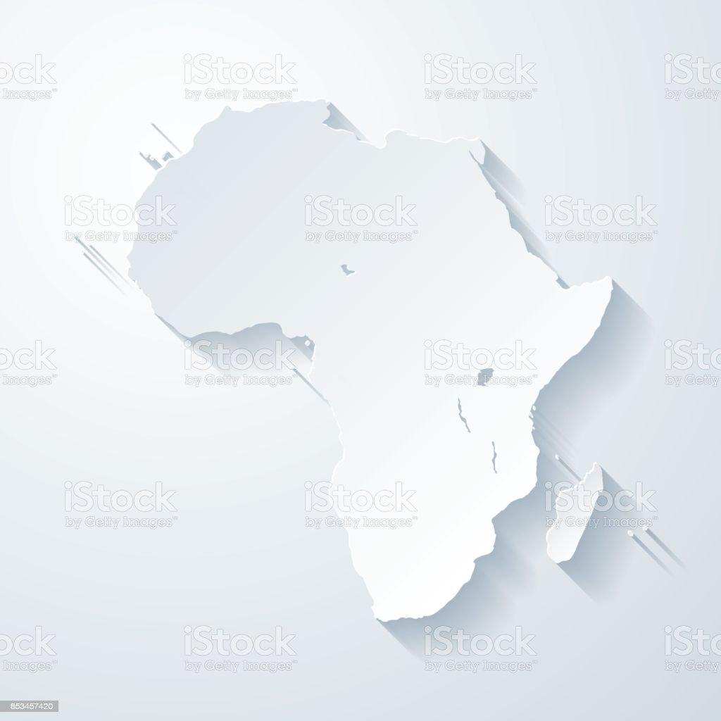 Mapa de África com papel corta efeito no fundo em branco - ilustração de arte em vetor
