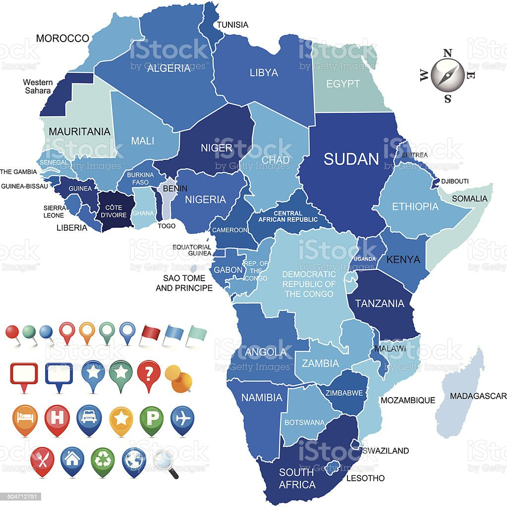 africa map with various gps icons vector art illustration