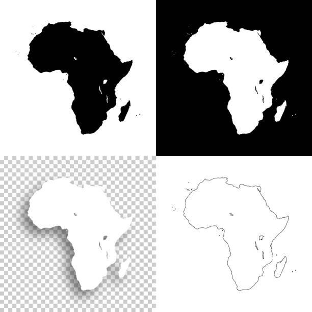 ilustrações de stock, clip art, desenhos animados e ícones de africa maps for design - blank, white and black backgrounds - cabo verde