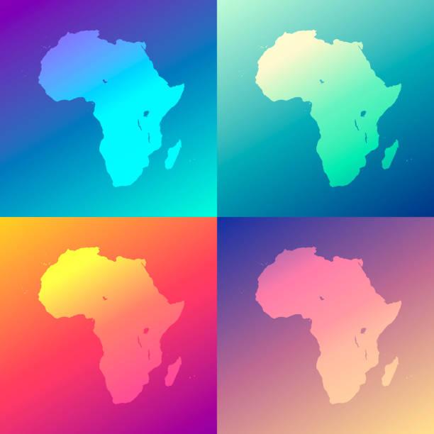 ilustrações de stock, clip art, desenhos animados e ícones de africa maps with colorful gradients - trendy background - cabo verde