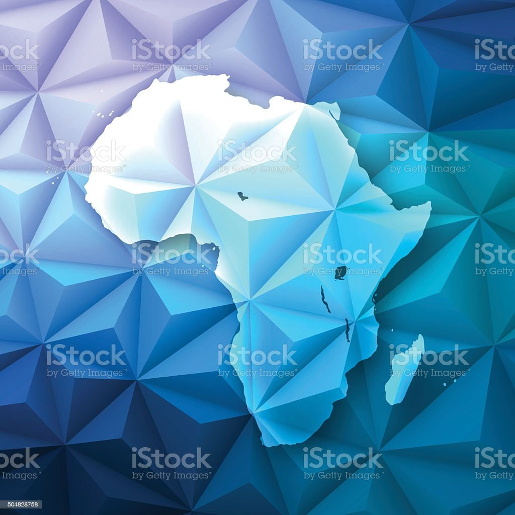 Africa on Abstract Polygonal Background - Low Poly, Geometric vector art illustration