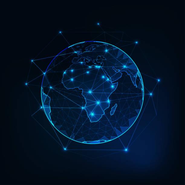 illustrazioni stock, clip art, cartoni animati e icone di tendenza di africa on planet earth view from space with continents outlines abstract background. - medio oriente