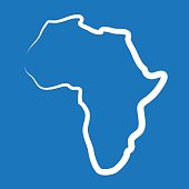 Africa outline map made from a single line