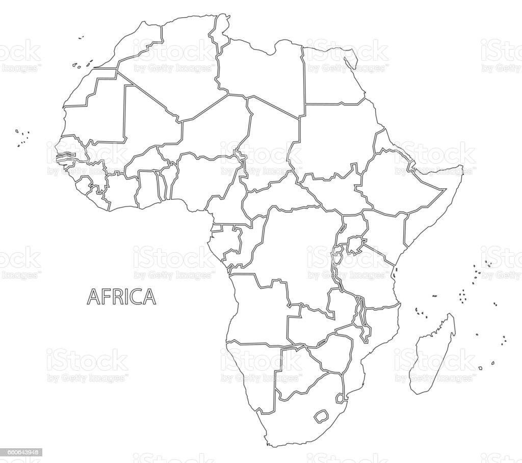 Map Of Africa Outline.Africa Outline Silhouette Map With Countries Stock Illustration