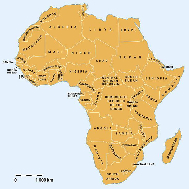 afrika politische landkarte - kamerun stock-grafiken, -clipart, -cartoons und -symbole