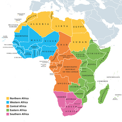 Africa regions map with single countries