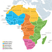 istock Africa regions map with single countries 915644064