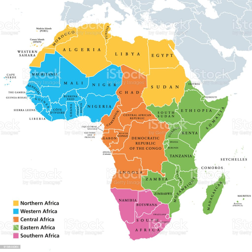Africa regions map with single countries vector art illustration