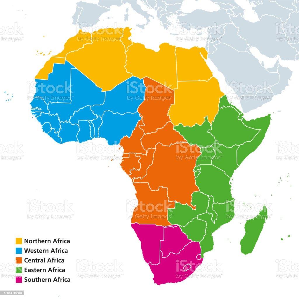 Africa regions political map vector art illustration