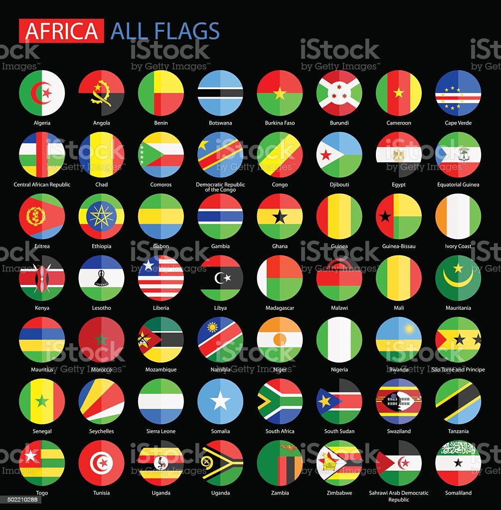 Africa Round Flags on Black Background - Full Vector Collection vector art illustration