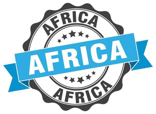 Africa round ribbon seal vector art illustration