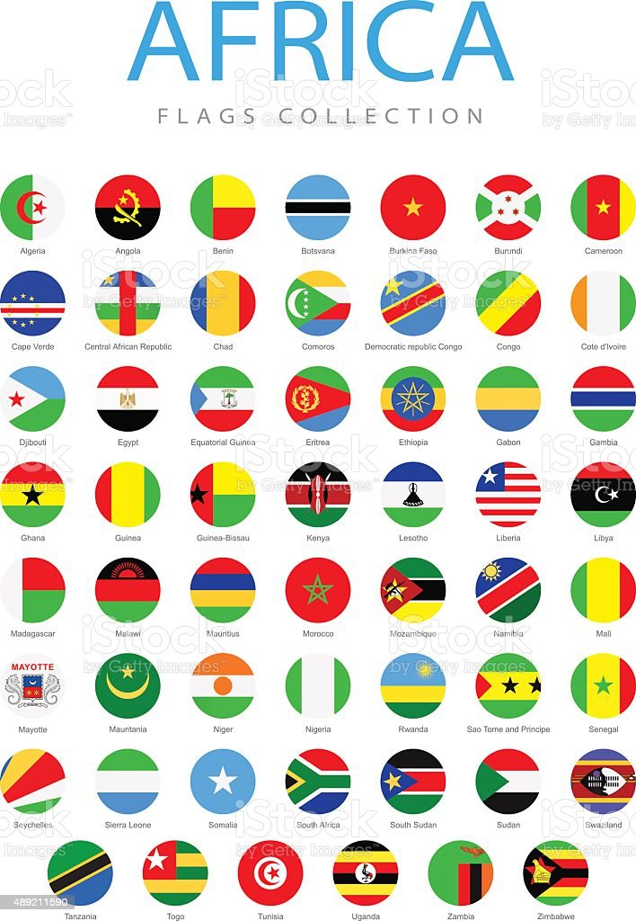 Africa - Rounded Flags - Illustration vector art illustration