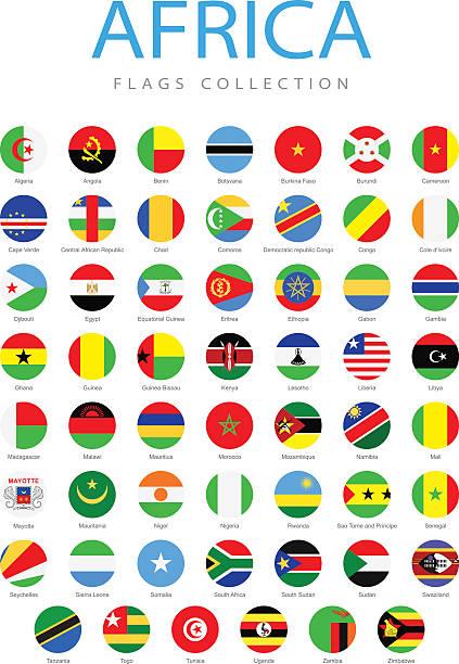 afrika-runde flaggen-grafik - kamerun stock-grafiken, -clipart, -cartoons und -symbole